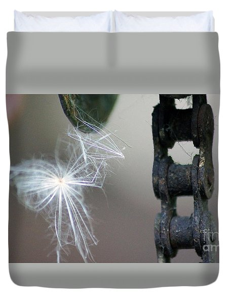 Balance, Feather And Iron Chain In The Wind Duvet Cover