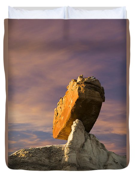 Duvet Cover featuring the photograph Balanced Bus Rock At The Burnham Badlands by Keith Kapple