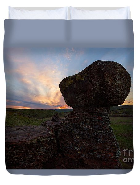 Duvet Cover featuring the photograph Balanced by Mike Dawson
