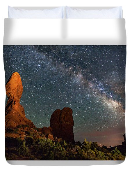 Balanced Rock And Milky Way Duvet Cover