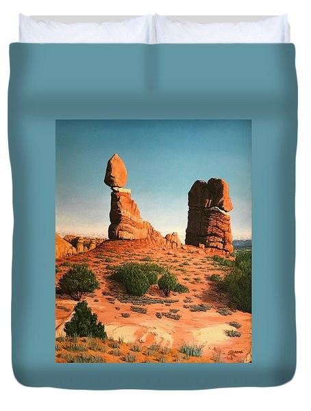 Balanced Rock At Arches National Park Duvet Cover