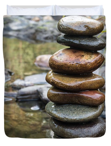 Balancing Zen Stones In Countryside River Vii Duvet Cover