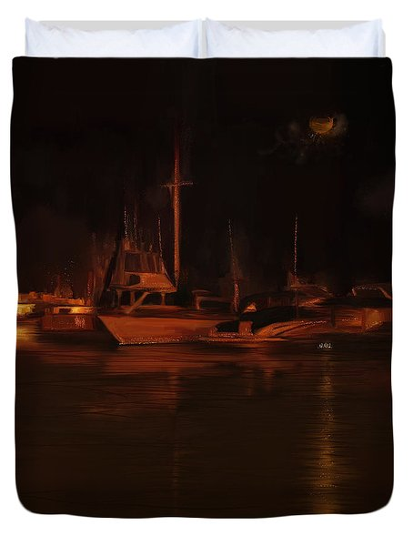 Balboa Island Newport Bay Night Duvet Cover by Angela A Stanton