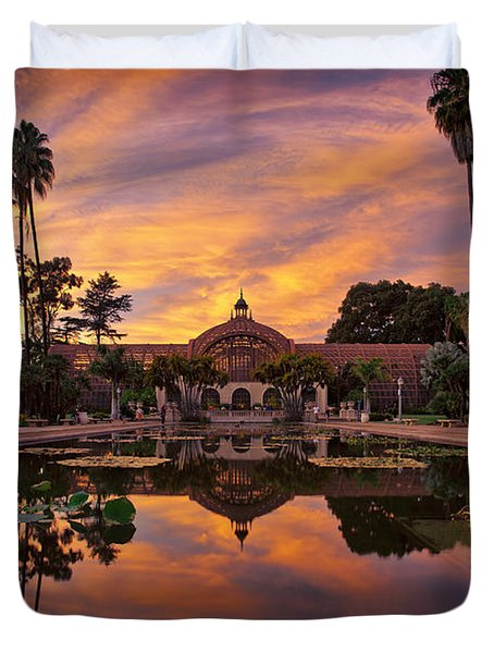 Balboa Park Botanical Building Sunset Duvet Cover
