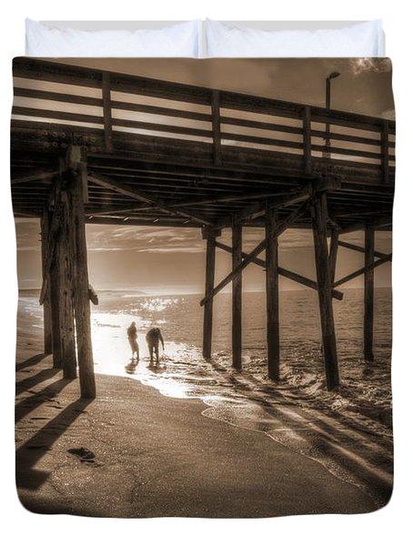 Balboa Pier Fishermen Duvet Cover