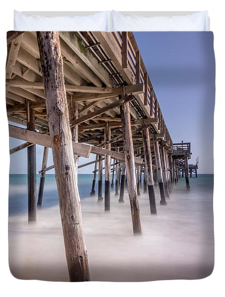 Duvet Cover featuring the photograph Balboa Pier by Jeremy Farnsworth