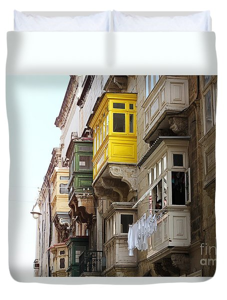 Balconies Of Valletta 1 Duvet Cover