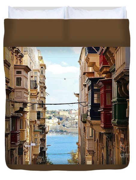 Balconies Of Valletta 2 Duvet Cover