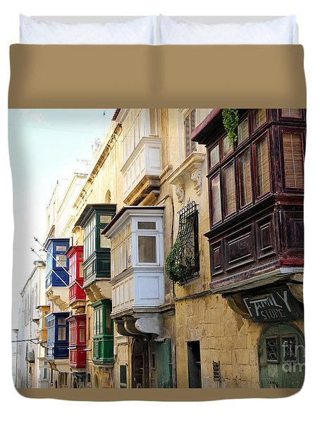 Balconies Of Valletta 3 Duvet Cover