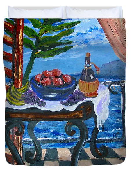 Balcony By The Mediterranean Sea Duvet Cover by Karon Melillo DeVega