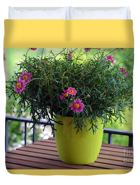 Duvet Cover featuring the photograph Balcony Flowers by Susanne Van Hulst