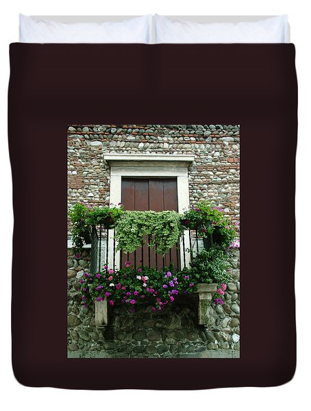 Balcony On Pebbled Wall Duvet Cover