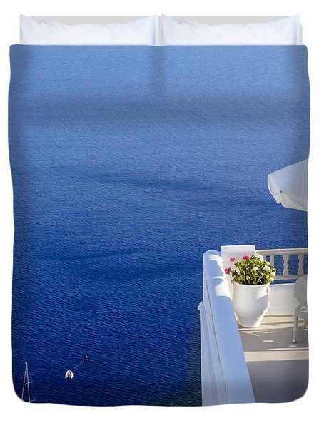 Balcony Over The Sea Duvet Cover