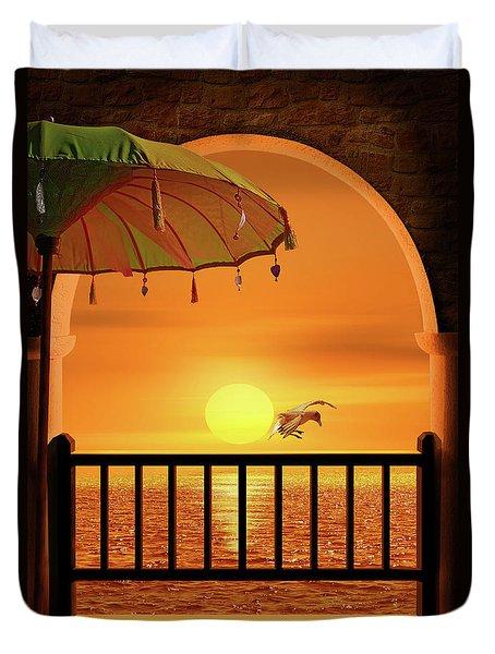 Balcony To The Sunset Duvet Cover