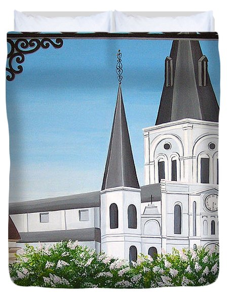 Balcony View Of St Louis Cathedral Duvet Cover