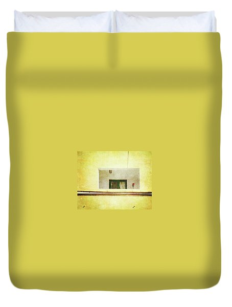 Duvet Cover featuring the photograph Balcony With Parrot by Anne Kotan
