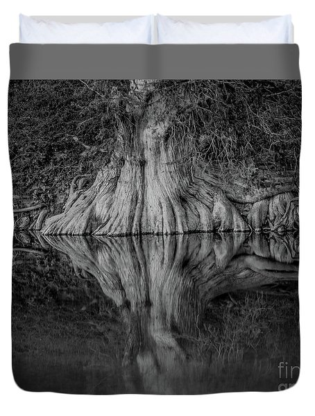 Bald Cypress Reflection In Black And White Duvet Cover