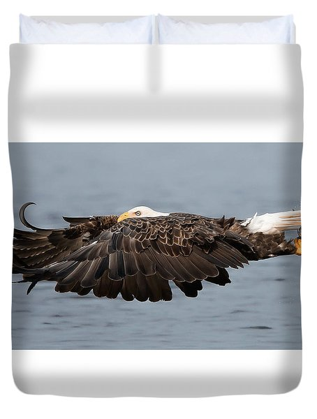 Bald Eagle And Fish Duvet Cover
