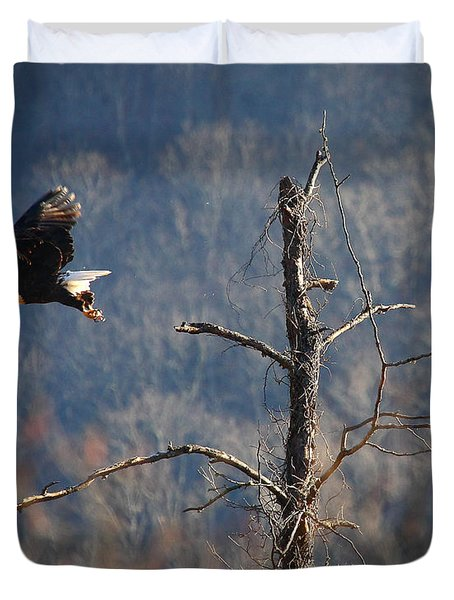 Bald Eagle At Boxley Mill Pond Duvet Cover by Michael Dougherty