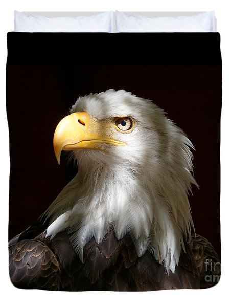 Bald Eagle Closeup Portrait Duvet Cover