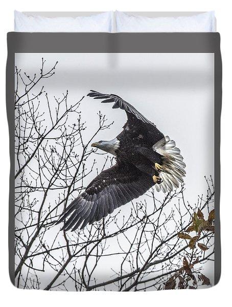 Bald Eagle Flying Duvet Cover