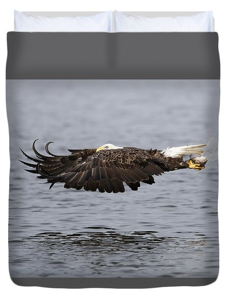 Bald Eagle Flying With Fish Duvet Cover