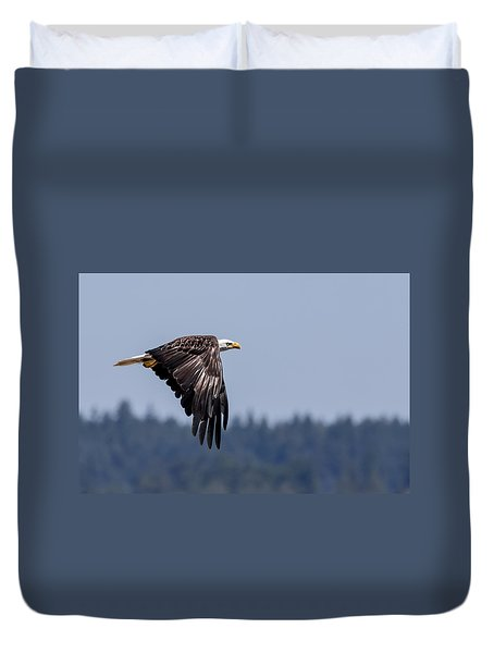 Duvet Cover featuring the photograph Bald Eagle Hunting Prey by Rob Green