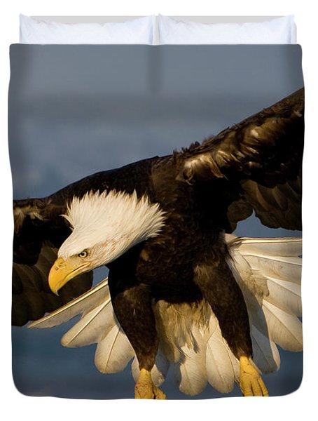 Bald Eagle In Action Duvet Cover