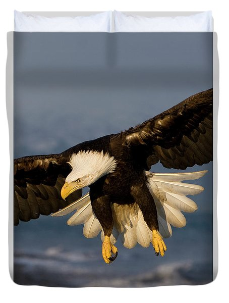Bald Eagle In Action Duvet Cover