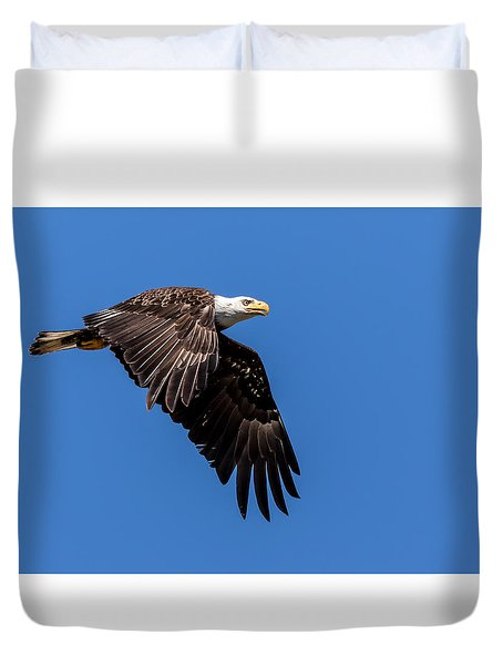 Duvet Cover featuring the photograph Bald Eagle In Flight by Rob Green