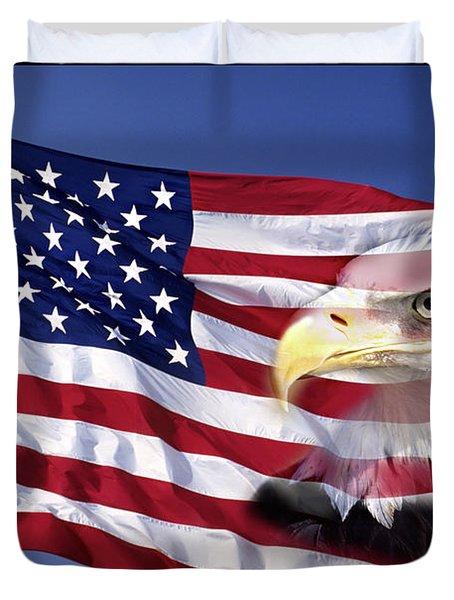 Bald Eagle On Flag Duvet Cover