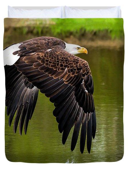 Bald Eagle Over A Pond Duvet Cover