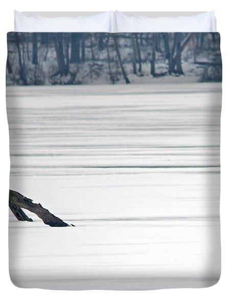 Bald Eagle Over Middle Creek Duvet Cover