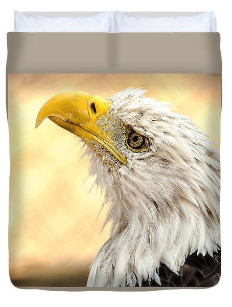 Duvet Cover featuring the photograph Bald Eagle Portrait by Yeates Photography