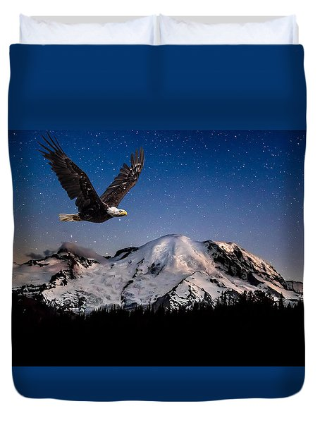 Duvet Cover featuring the photograph Bald Eagle Soaring By Mt Rainier Under Stars by Rob Green