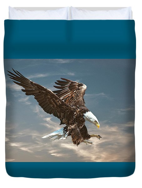 Bald Eagle Swooping Duvet Cover