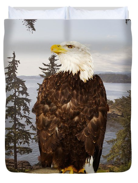 Duvet Cover featuring the photograph Bald Eagle Vancouver by Peter J Sucy