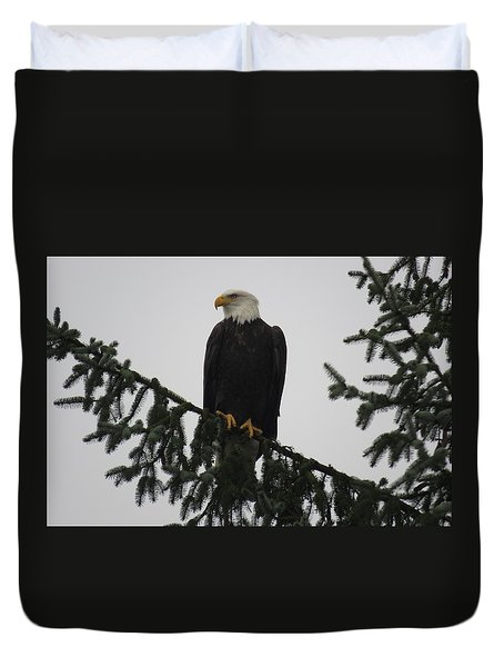 Bald Eagle Watching Duvet Cover