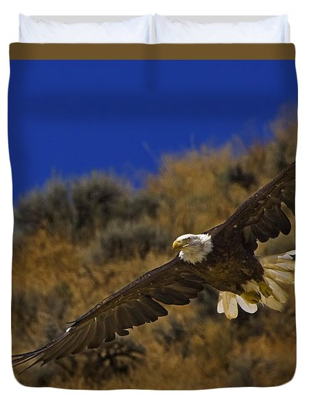 Duvet Cover featuring the photograph Bald Eagle Wing Spread-signed by J L Woody Wooden