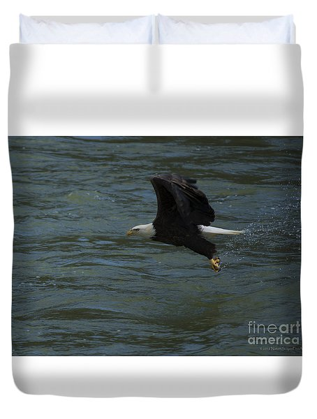 Bald Eagle With Fish In Claws Flying Over The French Broad River, Tennessee Duvet Cover