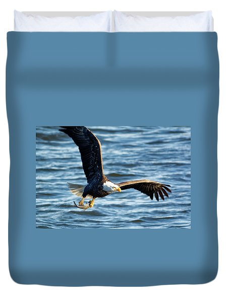 Bald Eagle With Fish Duvet Cover