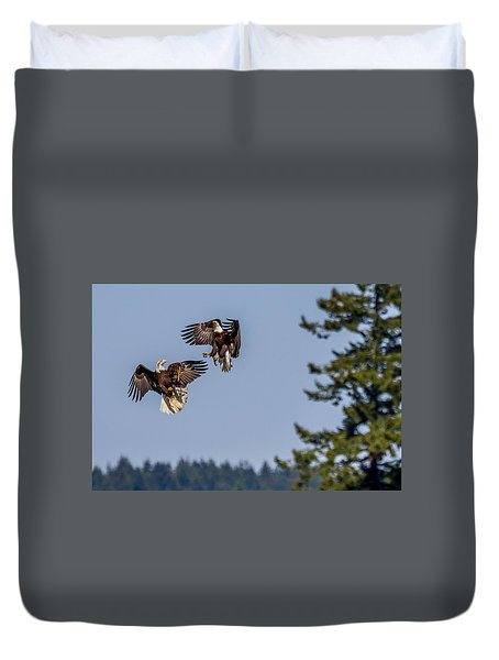 Bald Eagles Battle In Flight Duvet Cover