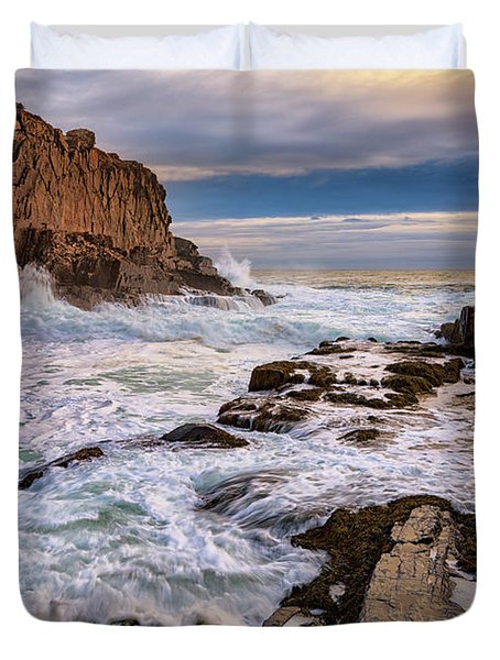 Duvet Cover featuring the photograph Bald Head Cliff by Rick Berk