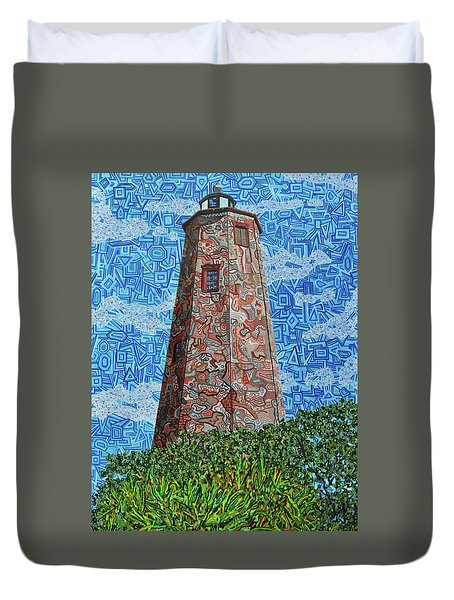Bald Head Island, Old Baldy Lighthouse Duvet Cover by Micah Mullen