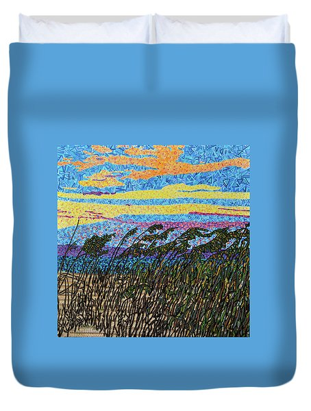 Bald Head Island, Sea Oat Sunset Duvet Cover by Micah Mullen