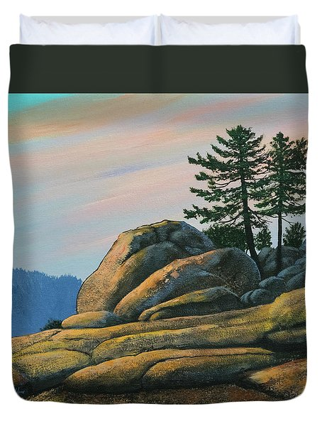 Duvet Cover featuring the painting Bald Rock At Sunset by Frank Wilson