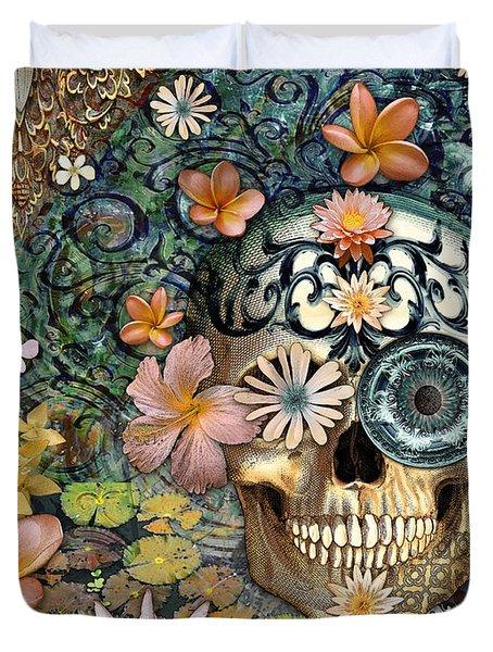 Bali Botaniskull - Floral Sugar Skull Art Duvet Cover by Christopher Beikmann