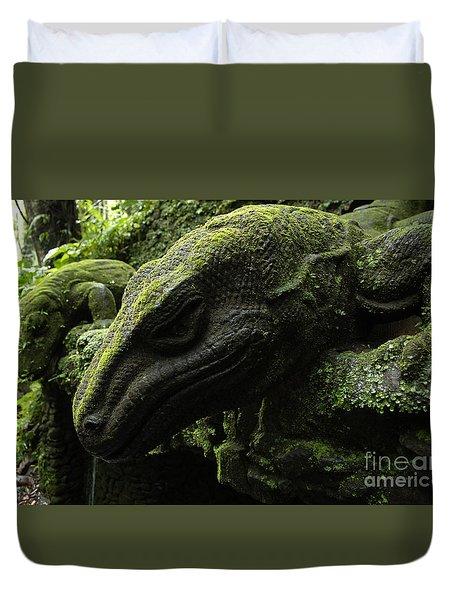 Bali Indonesia Lizard Sculpture Duvet Cover by Bob Christopher