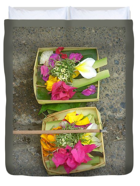 Balinese Offering Baskets Duvet Cover by Mark Sellers