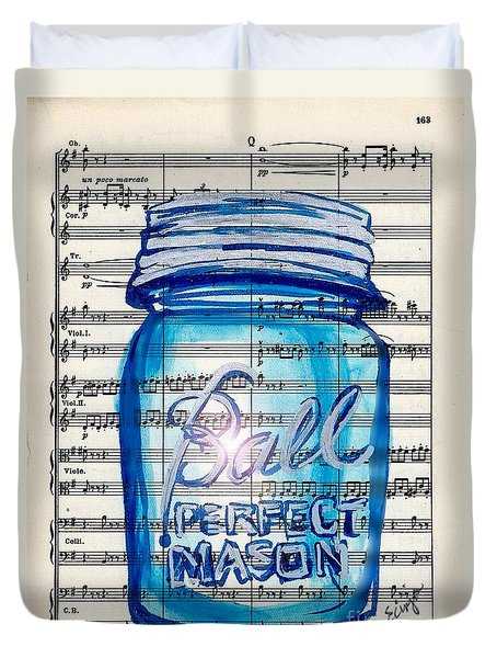 Duvet Cover featuring the painting Ball Mason Jar Classical #168 by Ecinja